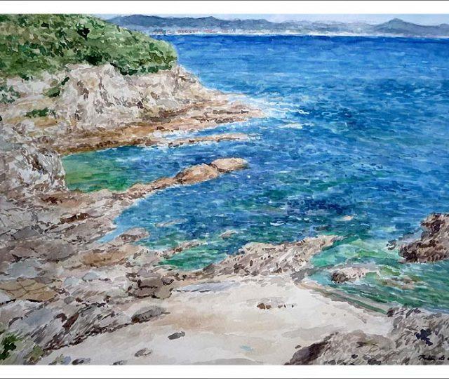 Playa de las Estacas, Ares, La Coruña. Cuadro en acuarela
