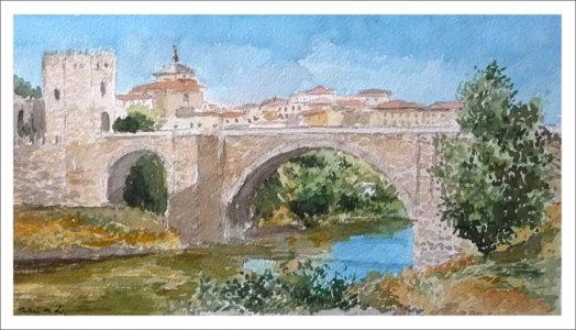 Acuarela del puente de San Martín, Toledo