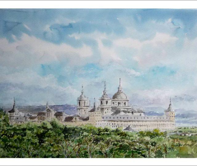 Cuadro en acuarela del Monasterio de San Lorenzo del Escorial.