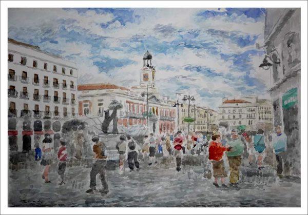 La Puerta del Sol, cuadro en acuarela