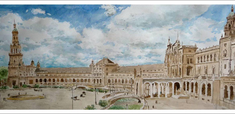 Acuarela de la Plaza de España de Sevilla.