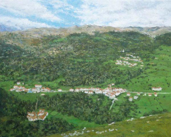 Cuadro al oleo de un paisaje del valle de Miera