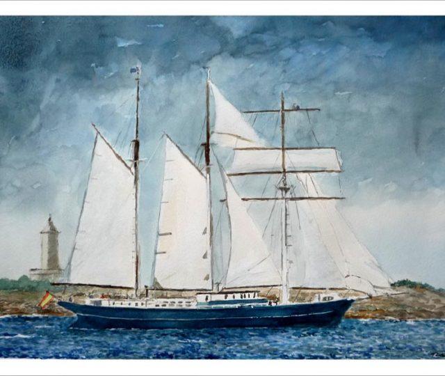 Acuarela de un velero en La Coruña.