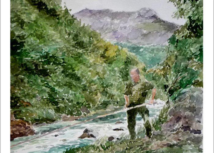 Acuarela del río Cares, Peñamellera, Asturias