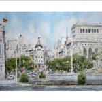 Acuarela de la Plaza de Cibeles, Madrid