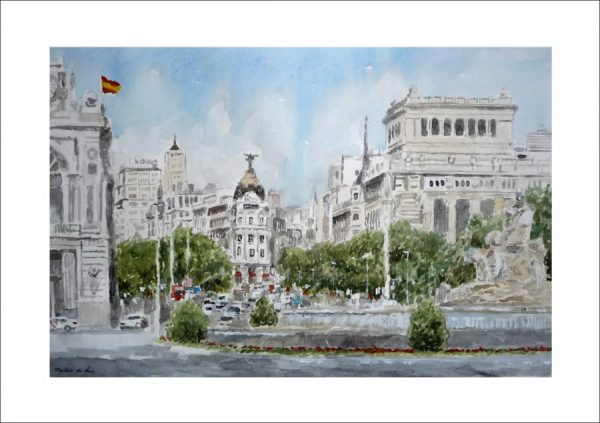 Cuadro en acuarela de la Plaza de Cibeles en Madrid