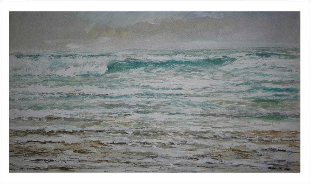 Marina en acuarela del Mar Cantábrico
