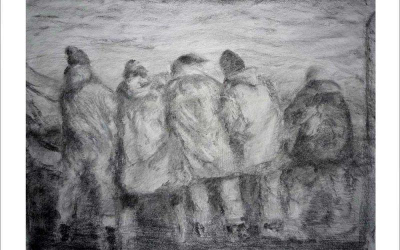 Dibujo a carboncillo de unos pescadores