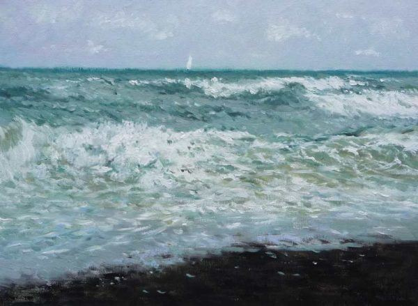 Marina al oleo del Mar Cantábrico embravecido