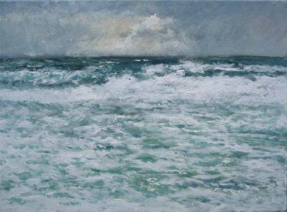Marina al oleo de un temporal en la costa