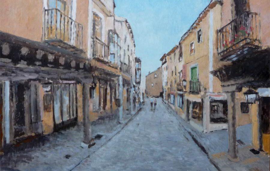 Cuadro al oleo de una calle de Medina de Rioseco, Valladolid