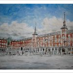 Acuarela de la Plaza Mayor de Madrid