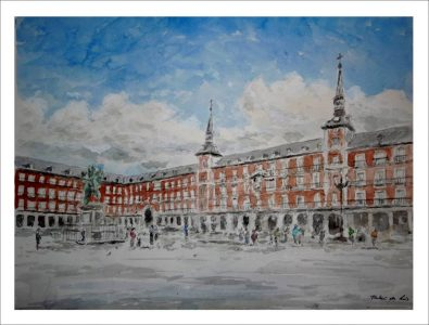 Acuarela de la Plaza Mayor de Madrid