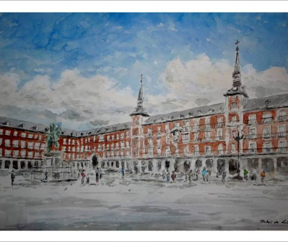 Acuarela de la Plaza Mayor de Madrid.