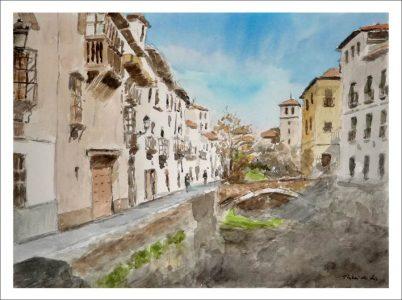Acuarela de la Carrera del Darro, Granada