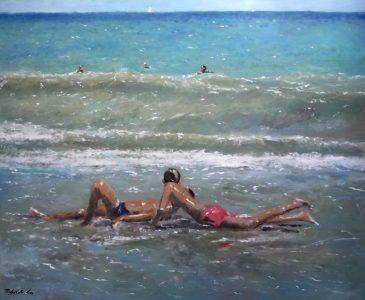 Marina al oleo de unos niños jugando en la orilla del mar