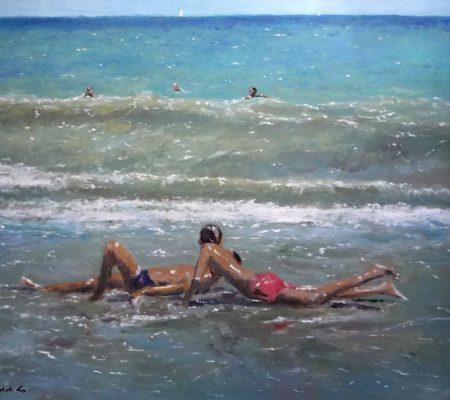 Marina al oleo de unos niños en la orilla