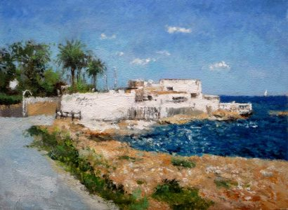 Cuadro al oleo de la playa de Les Rotes en Dénia