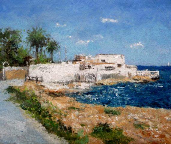 Oleo de la cala de la playa de Les Rotes en Denia