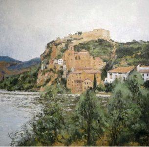 Cuadro al oleo de Miravet, Tarragona