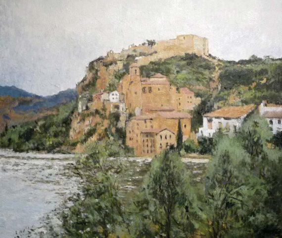 Paisaje al oleo de Miravet, Tarragona