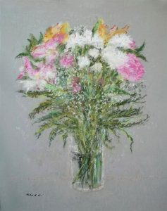 Flores en un florero | Cuadro a pastel