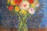 Cuadro a pastel de unas flores de estilo impresionista
