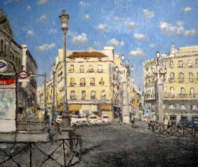 Cuadro al oleo de la Puerta del Sol, Madrid