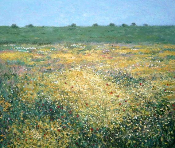 Cuadro al oleo de un paisaje de flores silvestres en primavera