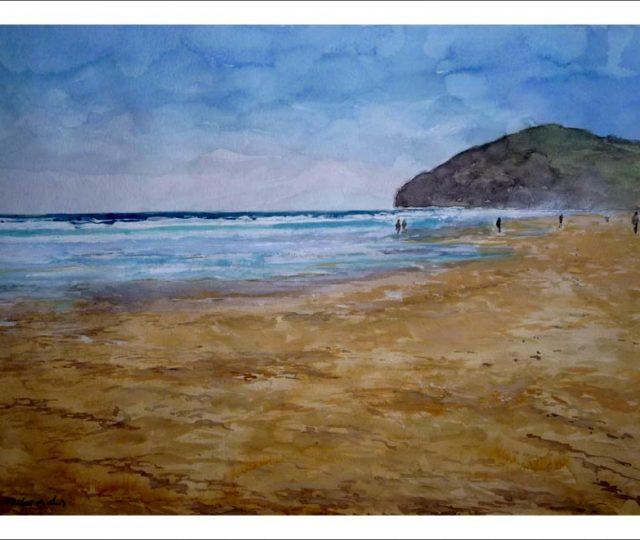 Acuarela de la playa de Berria, Santoña, Cantabria.