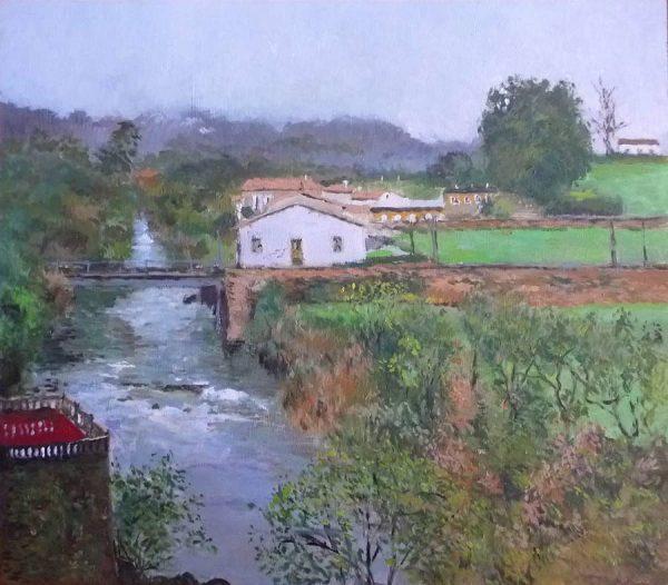 Cuadro al oleo del río Miera en Liérganes.