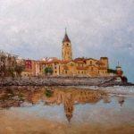 Gijón, reflejos en la playa