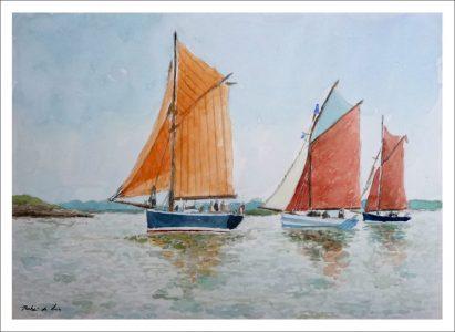 Tres veleros de pesca navegando