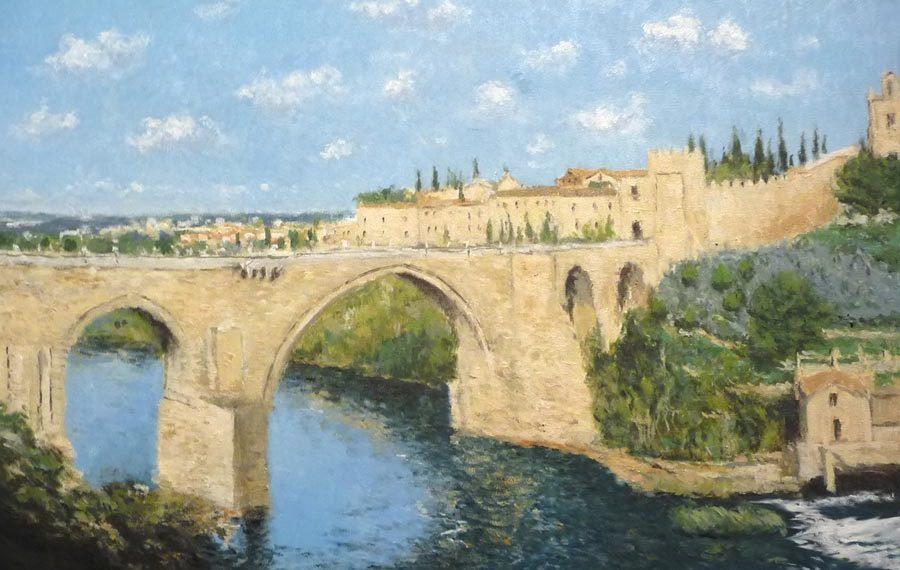 Cuadro al oleo del puente de San martín en Toledo