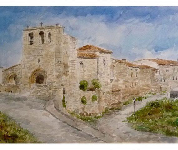 Paisaje en acuarela de Haza, Burgos.