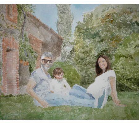 Retrato de familia en acuarela