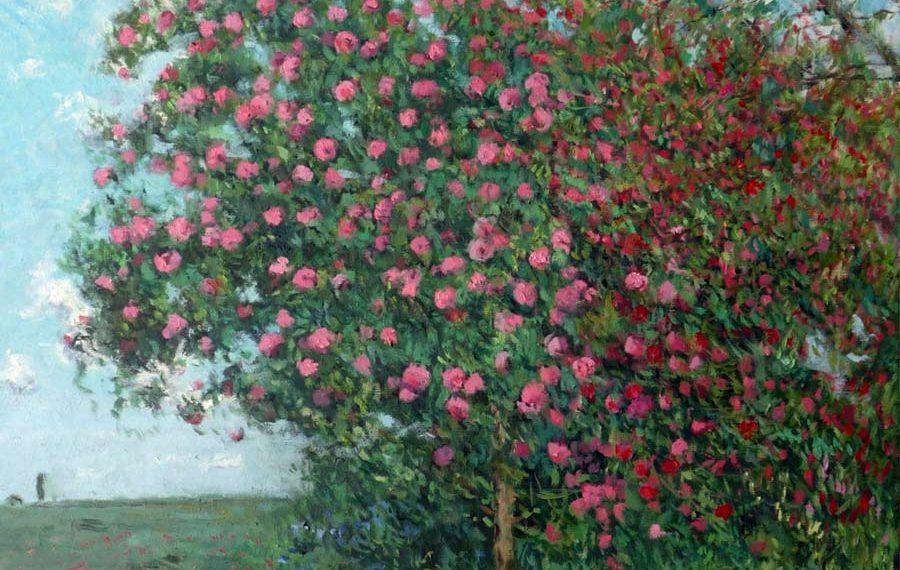 Cuadro al oleo de unas camelias en flor