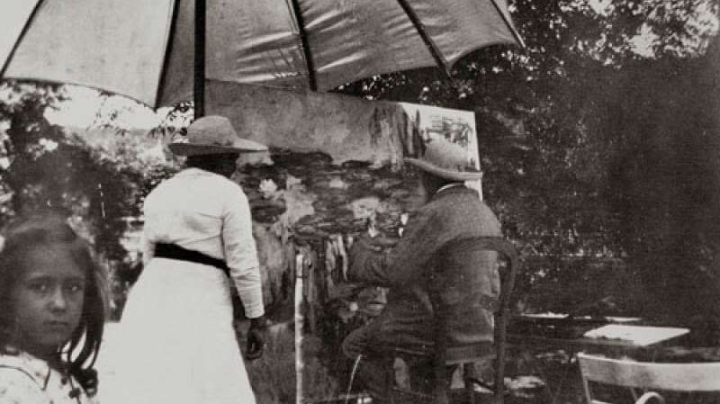 Claude Monet pintando en Giverny