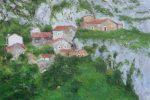 Cuadro al oleo de un paisaje de Bulnes, Asturias