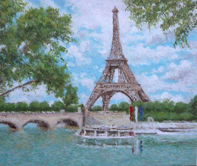 Cuadro al oleo de la Torre Eiffel de París