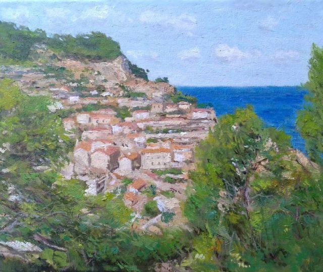 Paisaje al oleo de Banyalbufar, Mallorca