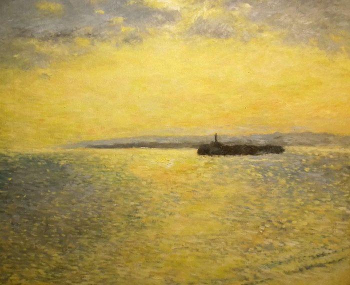 Atardecer en la bahía de Santander, cuadro al oleo.
