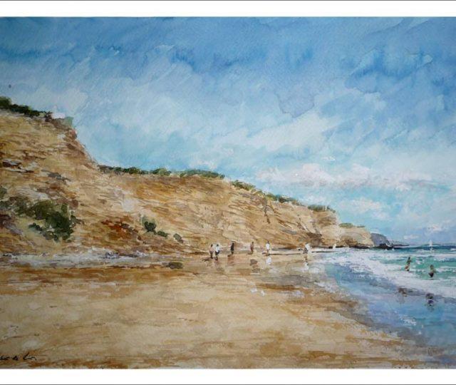 Acuarela de la playa La Fuente del Gallo, Conil, Cádiz