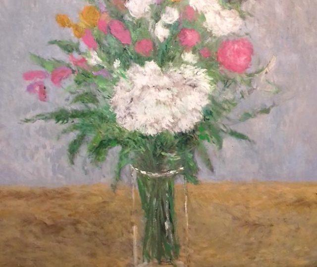 Cuadro al oleo de unas flores sobre una mesa