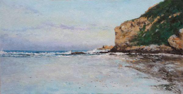 Cuadro al oleo de la playa de Luaña, Cóbreces, Cantabria
