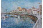 Acuarela del puerto deportivo de Gijón