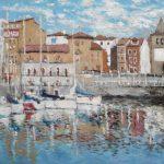 Dos cuadros de Gijón al oleo y acuarela