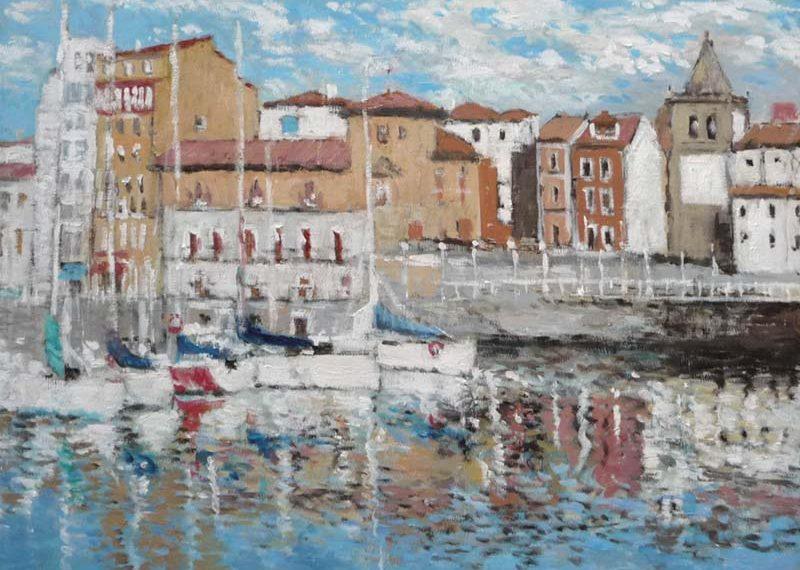 Cuadro al oleo de Gijón y su puerto deportivo