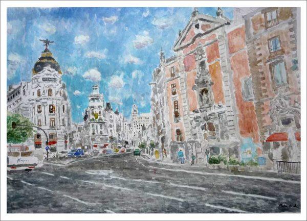 Cuadro en acuarela del edificio Metrópolis en la Gran Vía de Madrid.