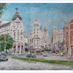 Acuarela del edificio Metropolis de Madrid